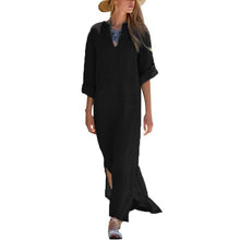 Load image into Gallery viewer, Oversized Women Long Sleeve Solid Cotton Maxi Dress