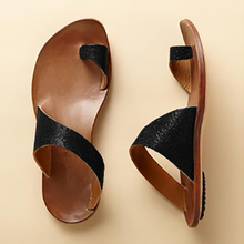 Load image into Gallery viewer, Daily Leather Flat Heel Summer Slippers