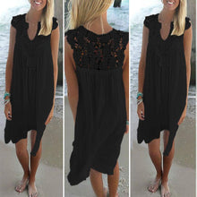 Load image into Gallery viewer, Lace Spliced Chiffon Loose Dress