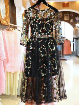 Fashion Yarn Embroidery High Waist Slim Fit Skater Dress