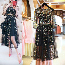 Load image into Gallery viewer, Fashion Yarn Embroidery High Waist Slim Fit Skater Dress
