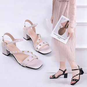Fashion Pure Color Rivet Buckle Thick Heel Sandals