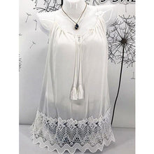 Load image into Gallery viewer, Summer  Acrylic Cotton  Women  Tie Collar  Decorative Lace  Hollow Out Plain Sleeveless T-Shirts