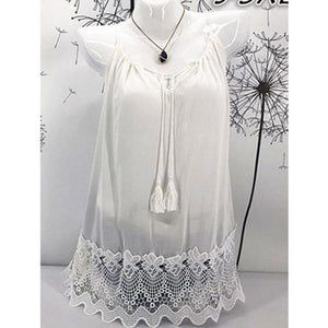 Summer  Acrylic Cotton  Women  Tie Collar  Decorative Lace  Hollow Out Plain Sleeveless T-Shirts