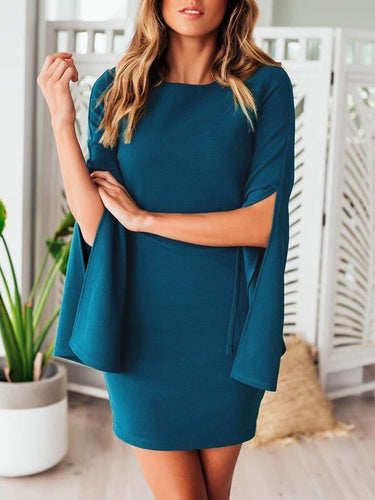 Sexy Round Neck Petal Sleeves Slim Bodycon Dress