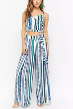Load image into Gallery viewer, Fashion V Collar Sling Blue Green Stripe Suit