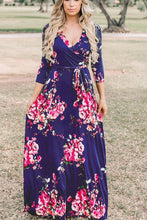 Load image into Gallery viewer, Fashion V Collar Floral Printed Belt Maxi Dress