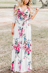 Fashion V Collar Floral Printed Belt Maxi Dress