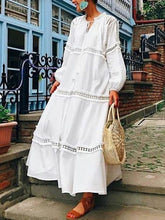 Load image into Gallery viewer, V Neck Lantern Sleeve Hollow Out Maxi Dress