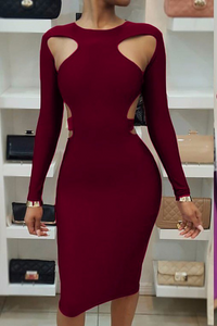 Sexy Off Shoulder Backless Plain Bodycon Dress