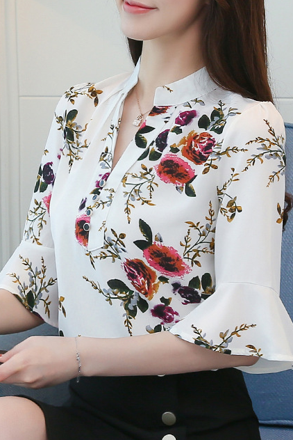 Fashion V Collar Floral Printed  Shirt