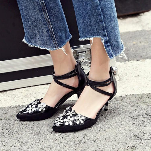 Fashion Stiletto Pointed Flower Shallow Mouth Ankle Shoes