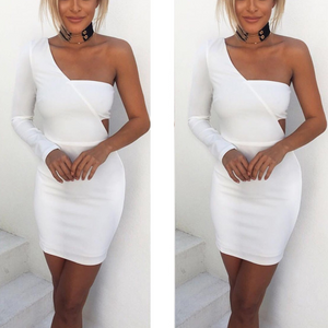 Fashion One Shoulder Slim Fit Bodycon Dress