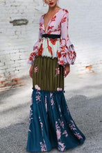 Load image into Gallery viewer, Sexy Deep V Collar Floral Printed Split Joint Maxi Dress