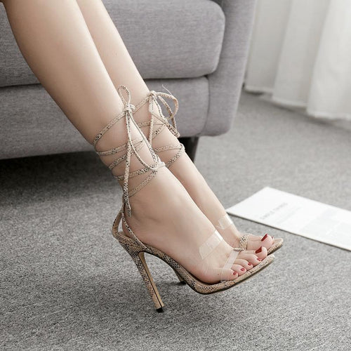 Sexy Floral Printed Blinding High Heel Sandal