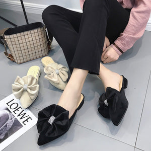 Fashion Coarse Heel Bow Flat Muller Slipper