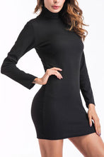 Load image into Gallery viewer, High Neck  Plain  Long Sleeve Bodycon Dresses