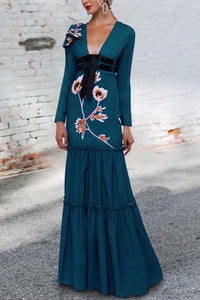 Sexy Deep V Collar Belt Bow Floral Printed Maxi Dress