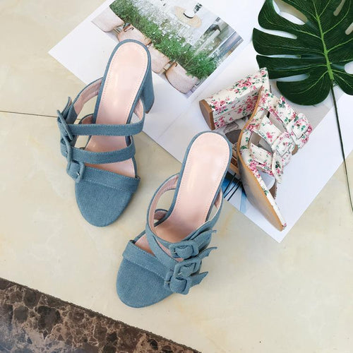 Fashion Hollow Out Coarse Heel Sandal