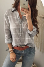 Load image into Gallery viewer, Fashion Loose Plaid Lace-Up V Collar Long Sleeve Blouse