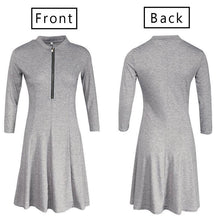Load image into Gallery viewer, Sexy Zippered Small Stand Collar Sleeve Dress