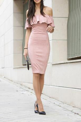 Sexy Plain Off Shoulder Ruffled Collar Bodycon Dress