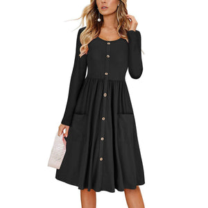 Button Pocket Round Neck Solid Color Long Sleeve Dress