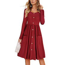 Load image into Gallery viewer, Button Pocket Round Neck Solid Color Long Sleeve Dress