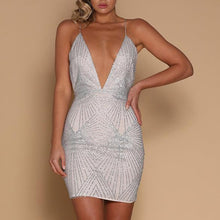 Load image into Gallery viewer, Sexy Deep V Neck Night Club Sling Bodycon Mini   Dress