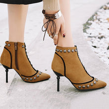 Load image into Gallery viewer, Little Punk Style High Heel Ankle Boots Female Rivets