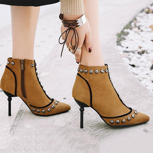 Little Punk Style High Heel Ankle Boots Female Rivets