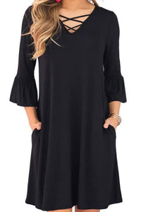 Sexy Loose Plain V Collar Long Sleeve Shift Dress