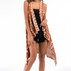 Fashion Strip Sleeveless Vacation Cardigan