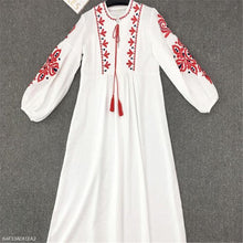Load image into Gallery viewer, Elegant Vacation Loose Embroidery V Collar Puff Long Sleeve Vacation Maxi Dress