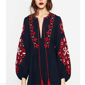 Elegant Vacation Loose Embroidery V Collar Puff Long Sleeve Vacation Maxi Dress
