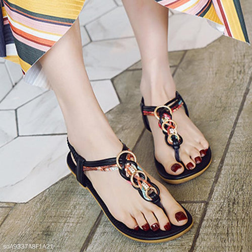 Flat With Bohemian Buckle Beach Women's Shoes