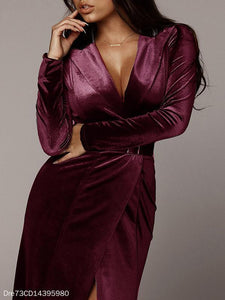 Sexy Velvet Stitching Satin Strap Maxi Dress