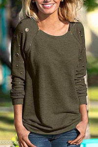 Round Neck Zipper Long Sleeve Solid Color Hoodie