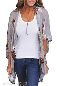 Fashion Vacation Floral Long Sleeve Cardigan