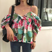 Load image into Gallery viewer, Fashion Casual Vacation Loose Floral Off Shoulder Puff Sleeve Braces Top