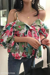 Fashion Casual Vacation Loose Floral Off Shoulder Puff Sleeve Braces Top