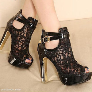 Lace Breathable Mesh High Heel Sandals