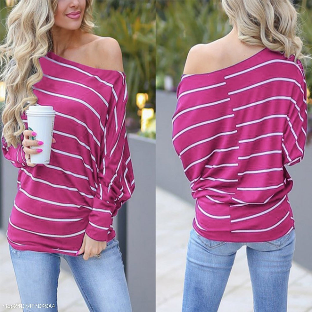 Fashion Slanted Shoulder Bat Sleeve Striped T-Shirt