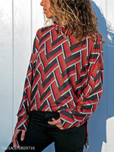 Load image into Gallery viewer, Geometric Printed Casual Long Sleeve High Collar Knit Top