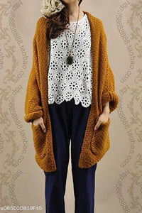 Solid Bat Sleeve Knit Cardigan