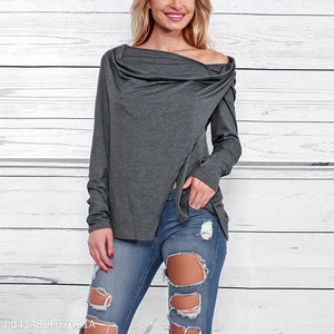 New Fashion Solid Color Off-Shoulder Hoodied