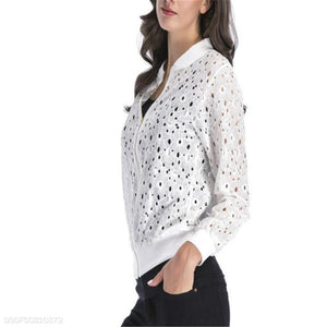 Fashion Casual Special Loose Lace Hollow Out Long Sleeve Jacket Cardigan
