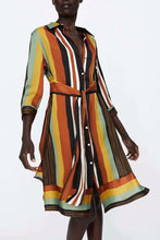 Load image into Gallery viewer, Fashion Colorful Stripe Belt Maxi Dress