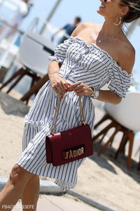 Fashion Stripe Short Sleeve Mini Dress