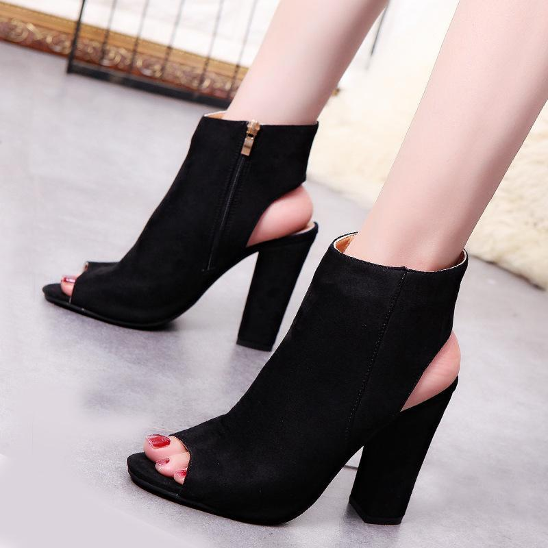 Fashion Open Toe Plain Coarse Heel High Heel
